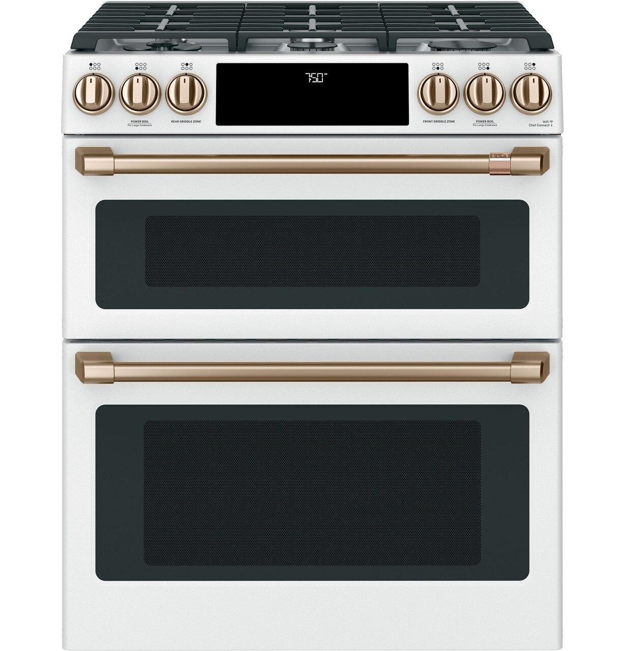 "Cafe AppliancesCafé™ 30"" Smart Slide-In, Front-Control, Gas Double-Oven Range With Convection"