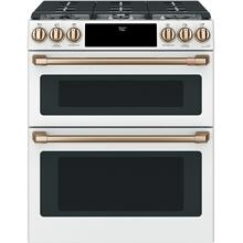 """View Product - Café™ 30"""" Smart Slide-In, Front-Control, Gas Double-Oven Range with Convection"""