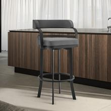 """View Product - Prinz 30"""" Bar Height Swivel Stool with Matte Black Finish and Grey Faux Leather"""