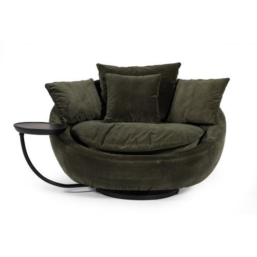 Divani Casa Pascal Modern Round Green Velvet Swivel Lounge Chair
