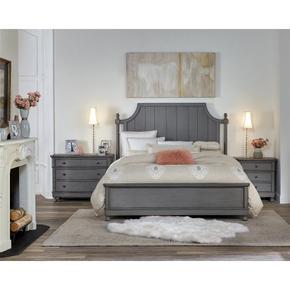 Bella Grigio - California King Bed Rails - Chipped Gray Finish