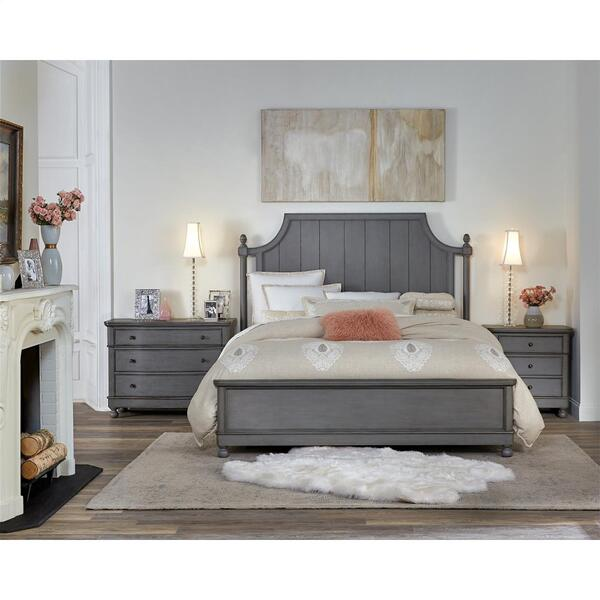 Bella Grigio - Three Drawer Nightstand - Chipped Gray Finish