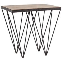 Cuspis 24L x 20W Brown Wood Top V-Shaped Iron Legs Console Table