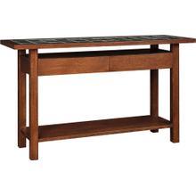 See Details - Oak Mission Tile Top Console Table