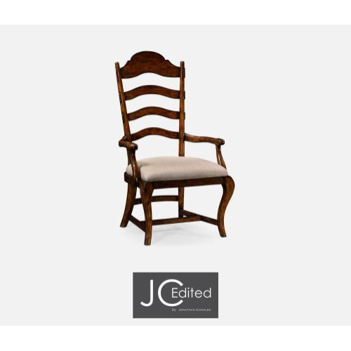 Rustic walnut dining armchair