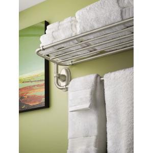 Kingsley brushed nickel towel shelf