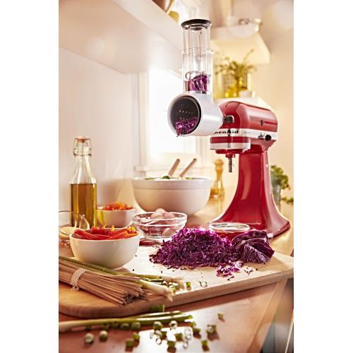 Value Bundle Artisan® Series 5 Quart Tilt-Head Stand Mixer with Fresh Prep Slicer/Shredder Attachment - Empire Red