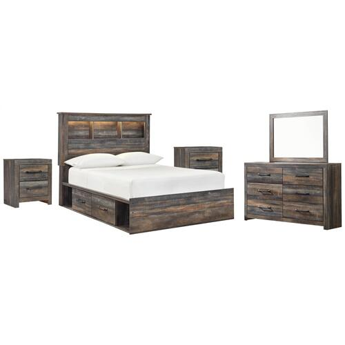 Ashley - Full Bookcase Bed With 2 Storage Drawers With Mirrored Dresser and 2 Nightstands