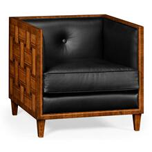 Club chair with Woven inlay design in black leather seat