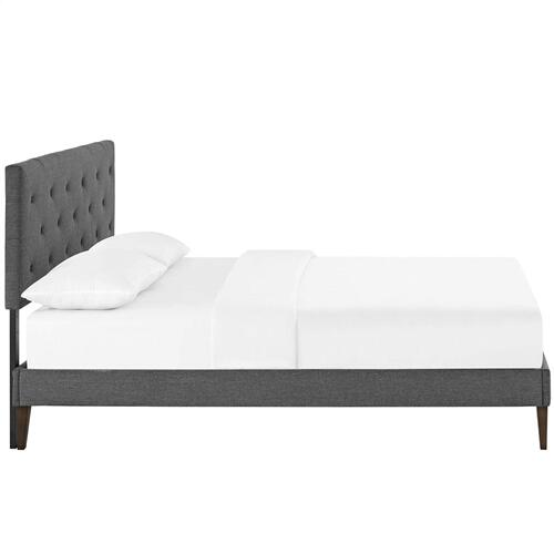 Tarah Queen Fabric Platform Bed with Squared Tapered Legs in Gray