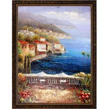 Mediterranean Coffee Central Framed Hand Painted Art, Oil on Canvas
