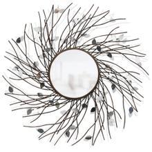 See Details - LIMBED REFLECTION MIRROR  43w X 43ht X 4d  Transitional Bronze Metal Tree Limb Design Wall Mirror