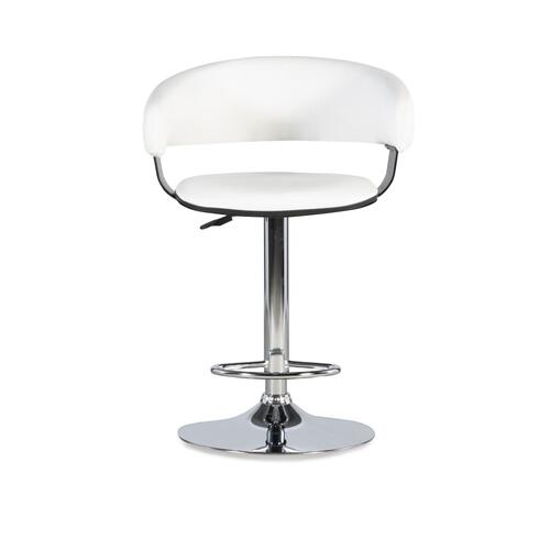 Faux Leather Barrel Adjustable Height Barstool, White and Chrome Steel