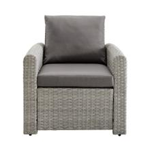 Product Image - Wicker-Look Upholstered Outdoor Accent Chair in Cygnet Gray