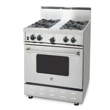 """30"""" BlueStar - Residential Culinary Series (RCS). All gas range.. Features NOVA™, SUPERNOVA™, and Simmer Burners for up to 18,000 BTUs .. Accommodates a full size commercial 18"""" x 26"""" baking sheet.. 24"""" depth for compatibility with standard kitchen cabinetry.. Oven door window.. 1850(DEGREE) infrared broiler.."""