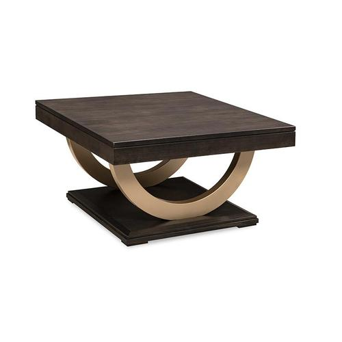 - Contempo Pedestal Coffee Table with Metal Curves