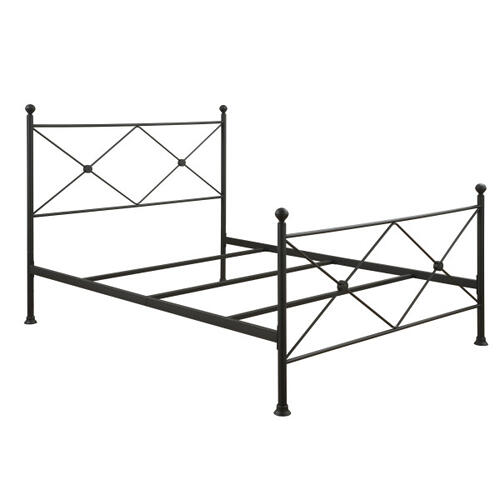 King Metal Poster Bed with X Accents in Iron Black