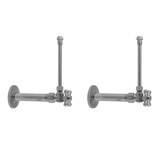 """Product Image - White - Quarter Turn Angle Pattern 1/2"""" IPS x 3/8"""" O.D. Faucet Supply Kit with Standard Cross Handle, 20"""" Supply Tubes, Escutcheons"""
