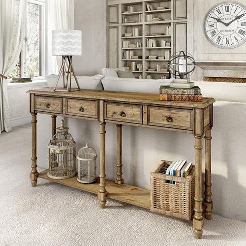 Accentrics Home - Two Drawer Tall Hall Console Table in Weathered Brown