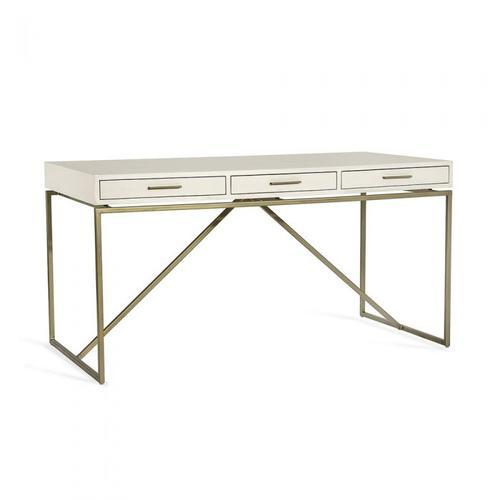 Emmet Snakeskin Desk - White