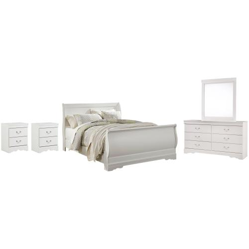Product Image - Queen Sleigh Bed With Mirrored Dresser and 2 Nightstands