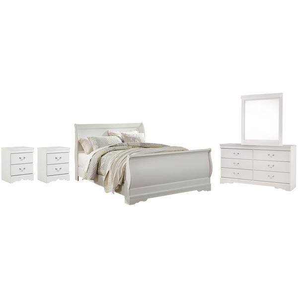 See Details - Queen Sleigh Bed With Mirrored Dresser and 2 Nightstands