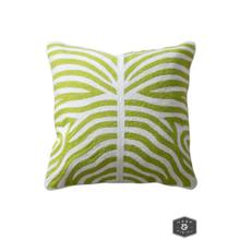 See Details - ELLIOTT PILLOW- GREEN  Hand Embroidered Wool on Cotton  Down Feather Insert