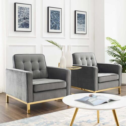 Loft Gold Stainless Steel Leg Performance Velvet Armchair Set of 2 in Gold Gray