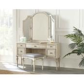 3-Piece Highland Park Vanity Set, Cathedral White (Vanity Desk, Tri-fold Mirror and Bench)