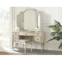 See Details - 3-Piece Highland Park Vanity Set, Cathedral White (Vanity Desk, Tri-fold Mirror and Bench)