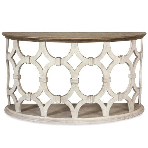 Elizabeth - Demilune Sofa Table - Smokey White/antique Oak Finish
