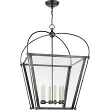 Visual Comfort CHC3440BZ-CG E. F. Chapman Plantation 6 Light 29 inch Bronze Foyer Lantern Ceiling Light, E.F. Chapman, Large, Clear Glass