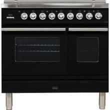 See Details - Professional Plus 36 Inch Dual Fuel Natural Gas Freestanding Range in Glossy Black with Chrome Trim