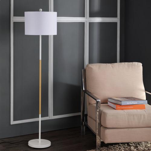 Melrose Floor Lamp - White / Wood Finish