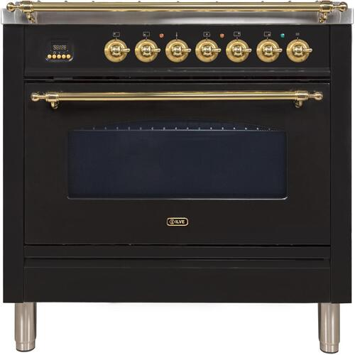 Nostalgie 36 Inch Gas Liquid Propane Freestanding Range in Glossy Black with Brass Trim