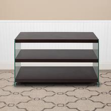 Product Image - Wynwood Collection Dark Ash Wood Grain Finish TV Stand with Shelves and Glass Frame