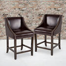 """Carmel Series 24"""" High Transitional Walnut Counter Height Stool with Nail Trim in Brown LeatherSoft, Set of 2 Product Image"""