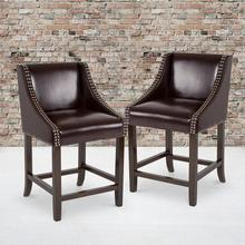"Carmel Series 24"" High Transitional Walnut Counter Height Stool with Nail Trim in Brown LeatherSoft, Set of 2"