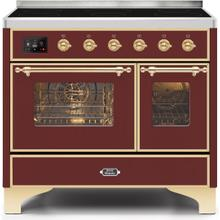 Majestic II 40 Inch Electric Freestanding Range in Burgundy with Brass Trim