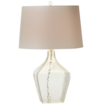 Clear Square Hammered Texture Table Lamp. 150W Max. 3 Way Switch.