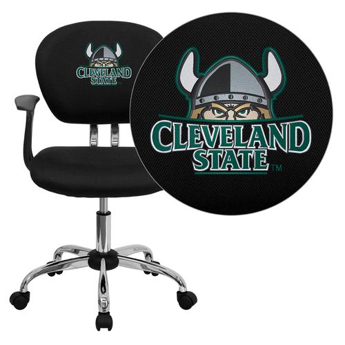 Cleveland State University Vikings Embroidered Black Mesh Task Chair with Arms and Chrome Base