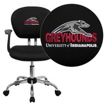 Indianapolis Greyhounds Embroidered Black Mesh Task Chair with Arms and Chrome Base