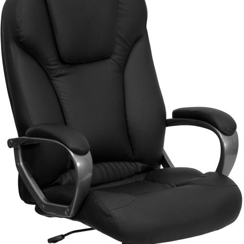 Gallery - High Back Black LeatherSoft Executive Swivel Office Chair with Titanium Nylon Base and Arms