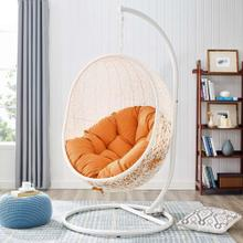 Hide Outdoor Patio Swing Chair With Stand in White Orange