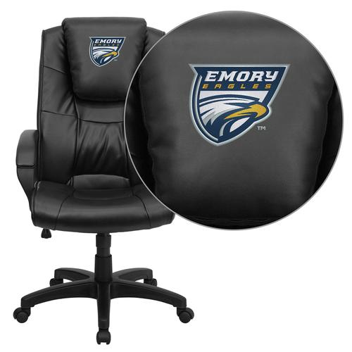 Emory University Eagles Embroidered Black Leather Executive Office Chair