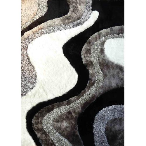 """Designer Shag S.V.D. 29 Area Rug by Rug Factory Plus - 4' x 5'4"""" / Black"""
