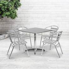 See Details - 31.5'' Square Aluminum Indoor-Outdoor Table Set with 4 Slat Back Chairs