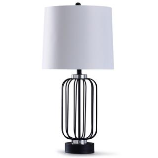 Dayton  32in Cage Black Metal Wire Table Lamp with Acrylic Accents  150W  3-Way