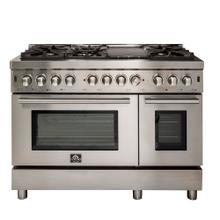 "48"" Gas Range with 240 Volt Electric Oven Dual Fuel Free-Standing Pro-Style Range 304 / 430 Stainless Steel Design FFSGS6188-48"