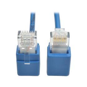 Right-Angle Cat6 Gigabit Snagless Molded Slim UTP Ethernet Cable (RJ45 M/M), Blue, 2 ft.